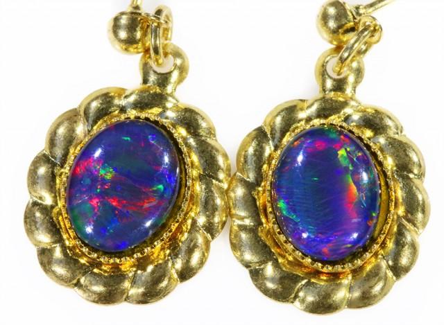 Beautiful Triplet Opal Earrings gold plated  Set  CF 1007