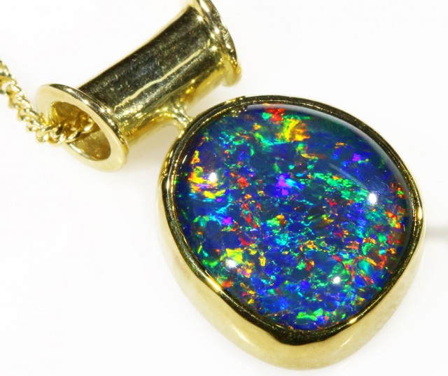 TRIPLET OPAL SET IN 18K YELLOW GOLD PENDANT TOP CF1026