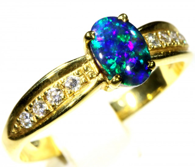 Cute Black Opal 18k Yellow Gold Ring SB 865