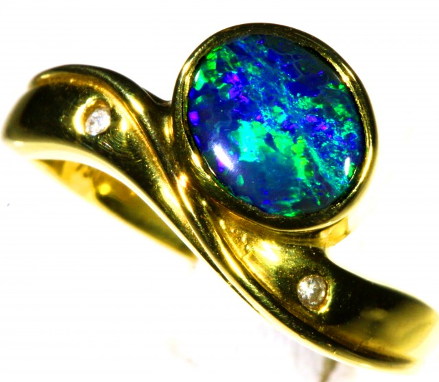 Cute Black Opal 18k Yellow Gold Ring SB 867
