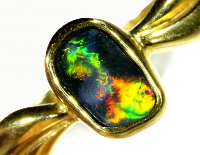 Cute Boulder Opal 18k Yellow Gold Ring SB 870