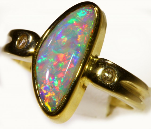 SHELL FOSSIL CRYSTAL OPAL 18k Yellow Gold Ring SB 871