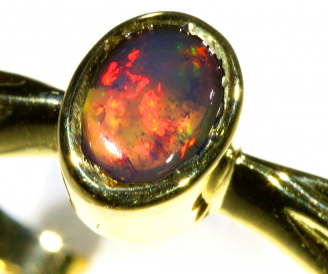Cute Black Crystal Opal 18k Yellow Gold Ring SB 873