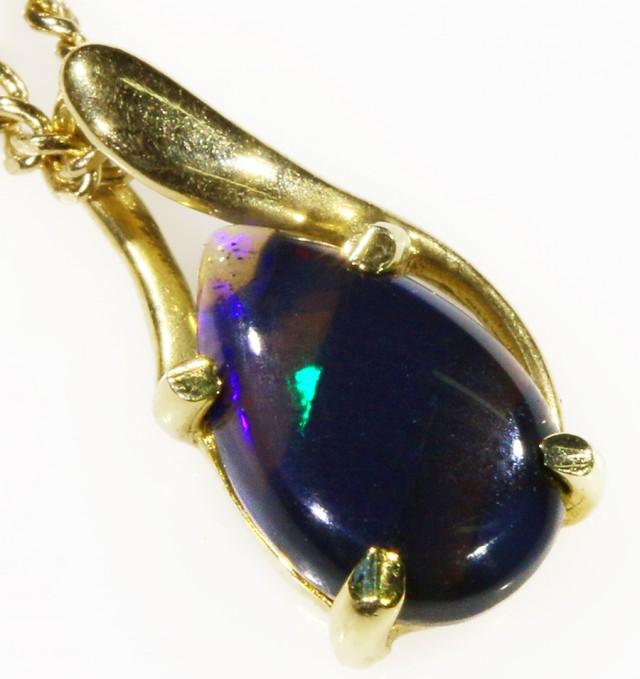 Black Opal set in 18k Gold Pendant  CF 1028