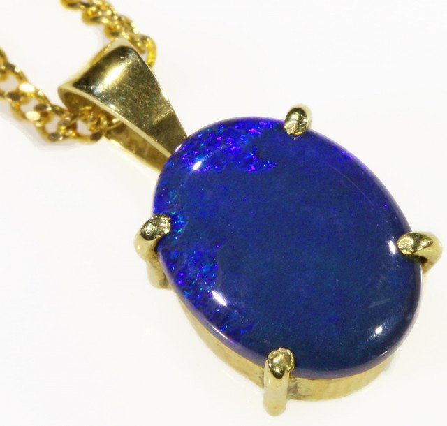 Black Opal set in 18k Gold Pendant  CF 1031