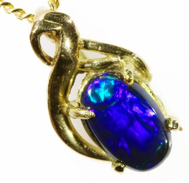Black Opal set in 18k Gold Pendant  CF 1034