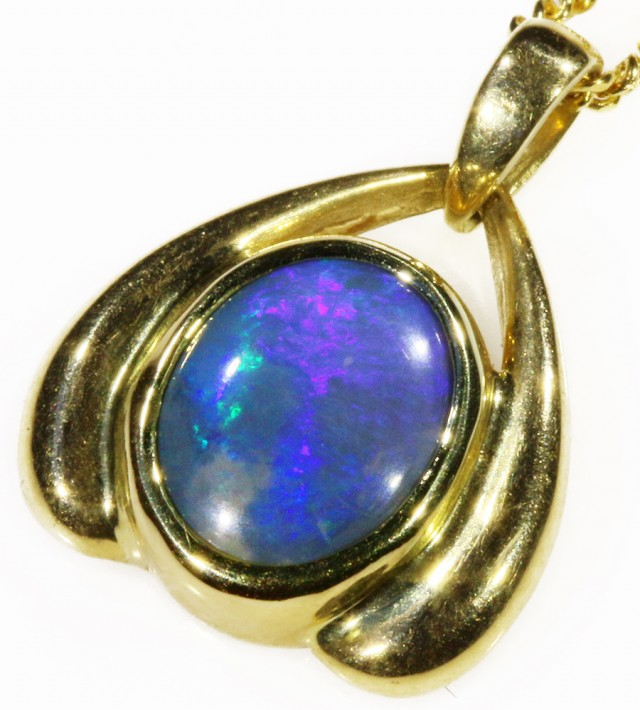 Black Opal set in 18k Gold Pendant  CF 1040