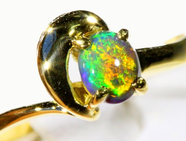 Cute Black Opal 18k Yellow Gold Ring SB 881