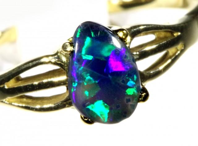 Cute Black Opal 18k Yellow Gold Ring SB 882