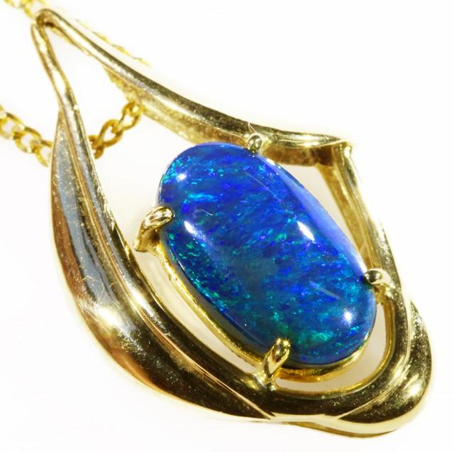 Black Opal set in 18k Gold Pendant  CF 1046