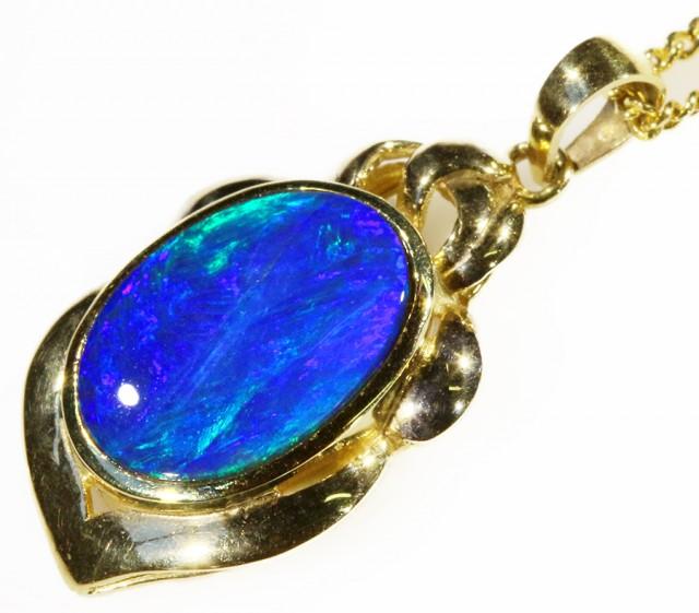 Black Opal set in 18k Gold Pendant  CF 1047