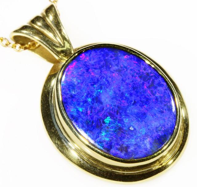 Black Opal set in 18k Gold Pendant  CF 1048