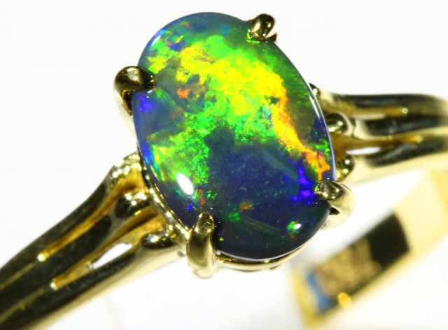 Cute Black Opal 18k Yellow Gold Ring SB 885