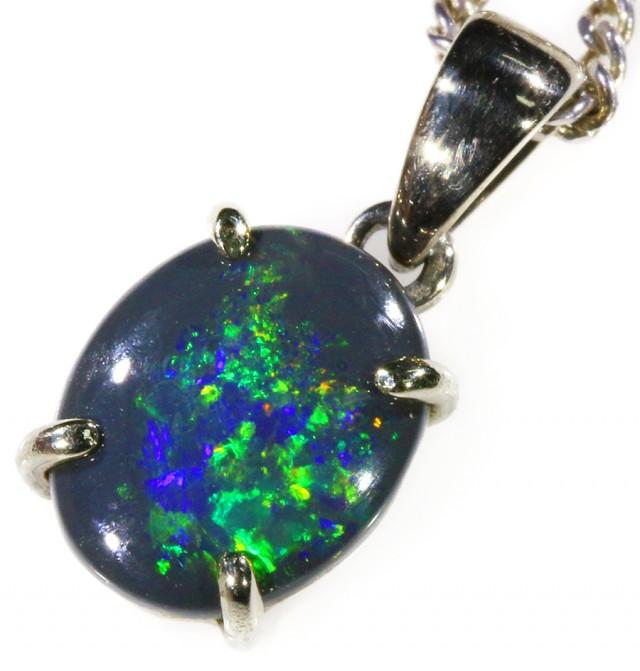 Black Opal set in 18k white  Gold Pendant  CF 1052