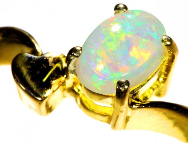 Cute Crystal Opal 18k Yellow Gold Ring SB 889