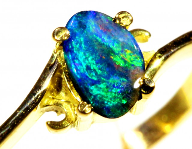 Cute Boulder Opal 18k Yellow Gold Ring SB 895