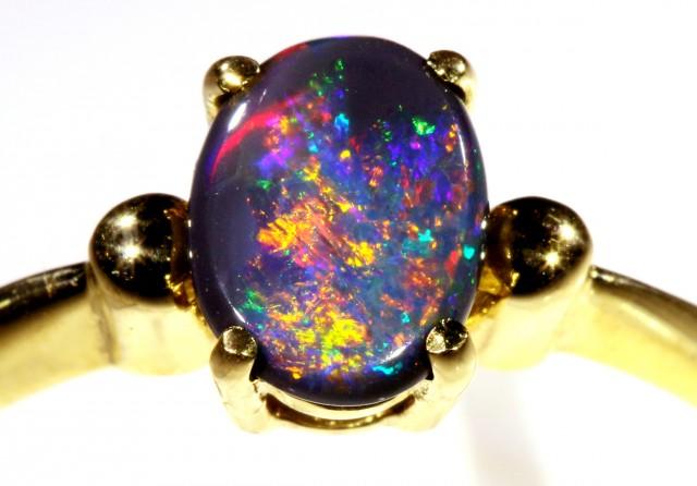 Cute Black Opal 18k Yellow Gold Ring SB 896