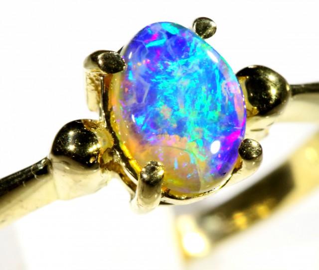 Cute Black Crystal Opal 18k Yellow Gold Ring SB 899