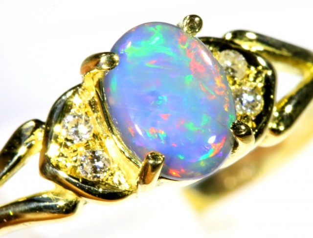 Cute Black Opal 18k Yellow Gold Ring SB 901
