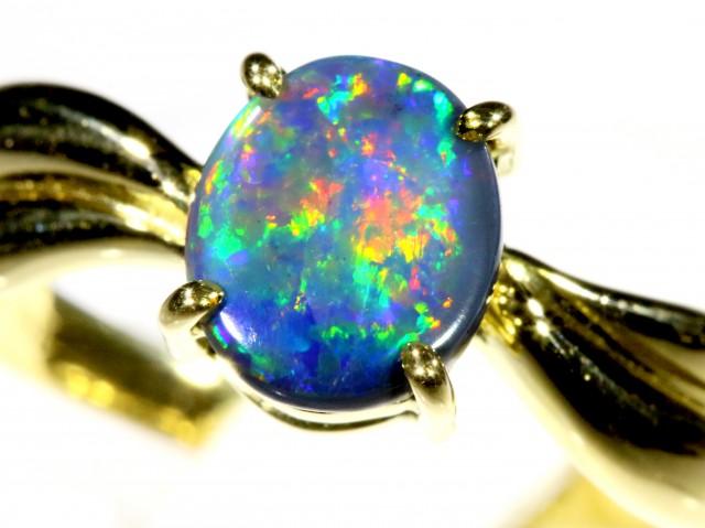 Cute Black Opal 18k Yellow Gold Ring SB 904