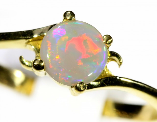 Cute Crystal Opal 18k Yellow Gold Ring SB 905
