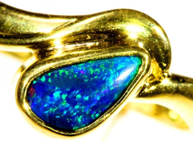 Cute Black Opal 18k Yellow Gold Ring SB 906