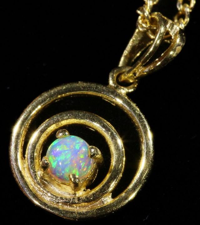 Fire Opal set in 18k  Gold Pendant  CF 1055