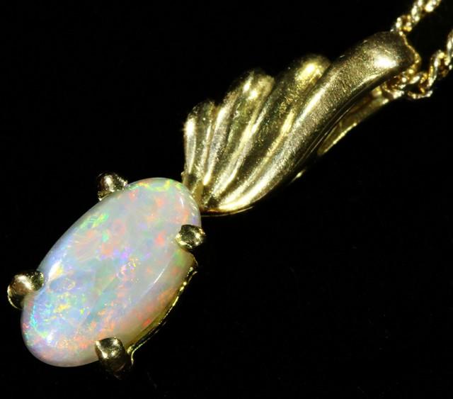 Fire Opal set in 18k  Gold Pendant  CF 1066