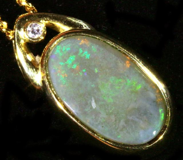 Fire Opal set in 18k  Gold Pendant  CF 1073