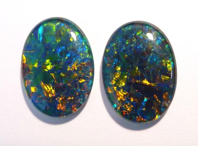Beautiful pair of Australian Opal Triplets, 18 x 13 mm,, Gem Grade (#2624))