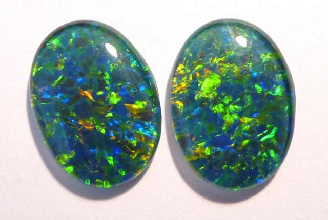 Beautiful pair of Australian Opal Triplets, gem grade, 18x13mm (#2625)