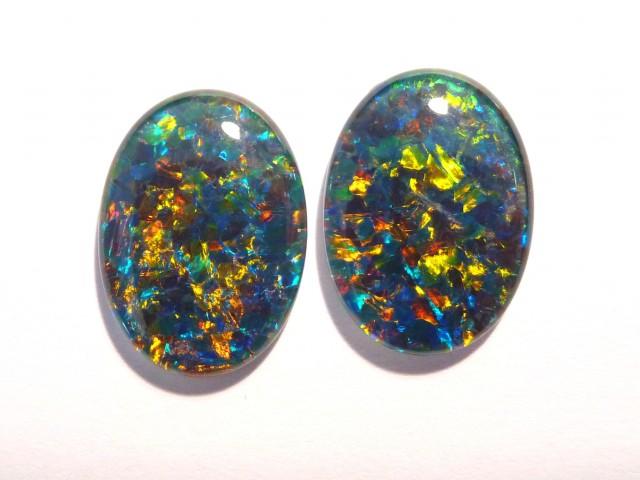 Pretty Pair of Australian Opal Triplets, A Grade, 18x13mm
