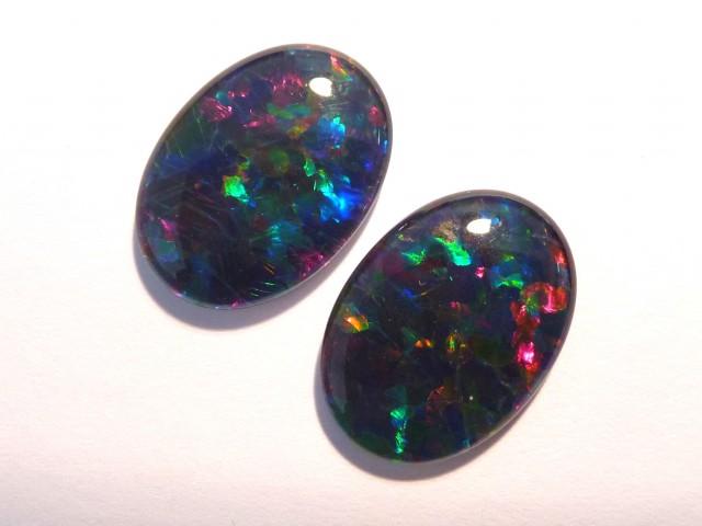 Pretty Pair of Australian Opal Triplets, 18x13mm, B+ Grade (#2642)