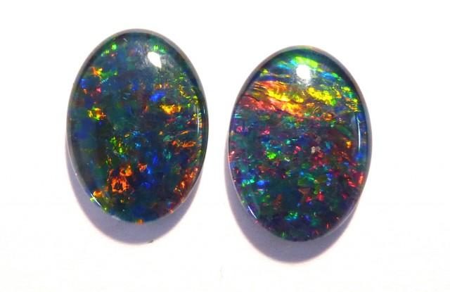 Bright pair of Australian Opal Triplets, A grade, 14x10mm (#2659)