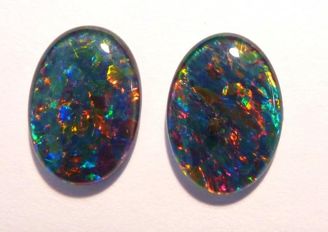 Pretty Pair of Australian Opal Triplets, 14x10mm, A Grade (#2661)
