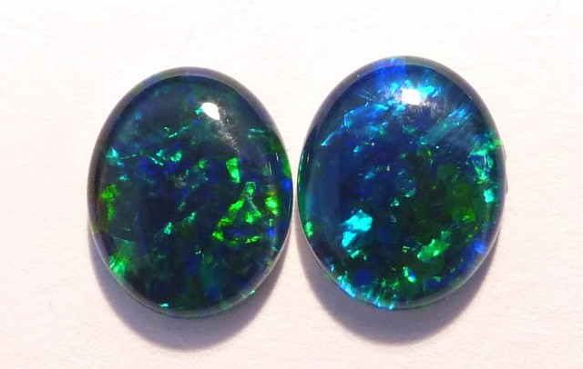 Pretty Pair of Australian Opal Triplets, 10x8mm, Gem Grade