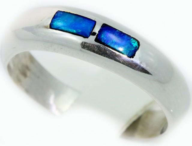 Cute Inlay Opal 18k White Gold Ring SB911