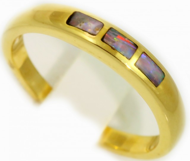 Cute Inlay Opal 18k Yellow Gold Ring SB 913