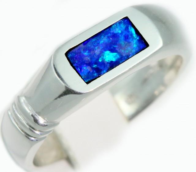 Cute Inlay Opal 18k White Gold Ring SB915