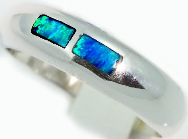 Cute Inlay Opal 18k White Gold Ring SB