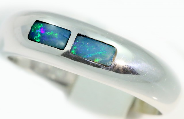 Cute Inlay Opal 18k White Gold Ring SB918