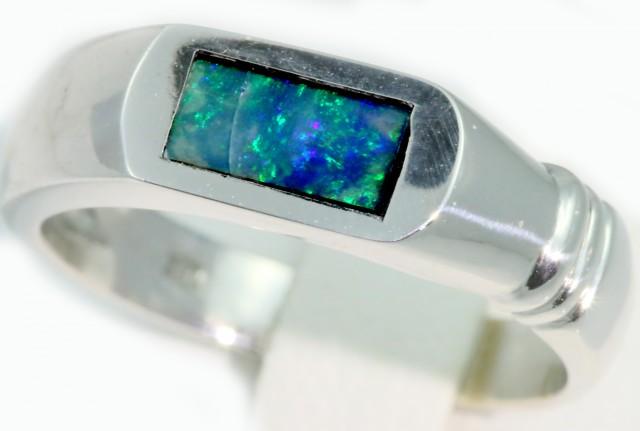 Cute Inlay Opal 18k White Gold Ring SB921