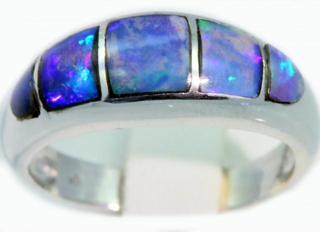 Cute Inlay Opal 18k White Gold Ring SB923
