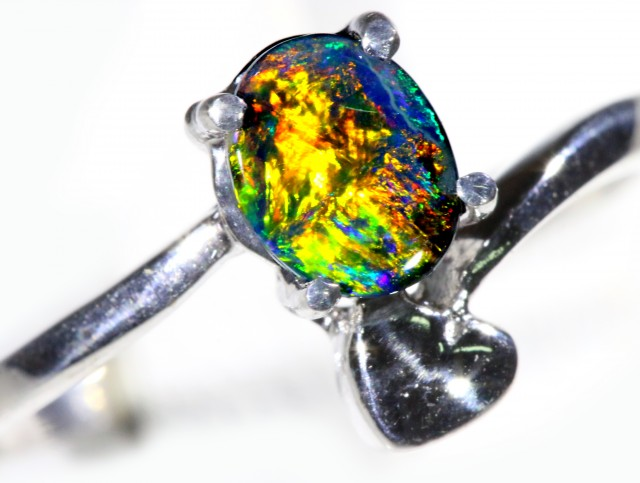 Solid Black Opal 18k White Gold Engagement Ring SB926