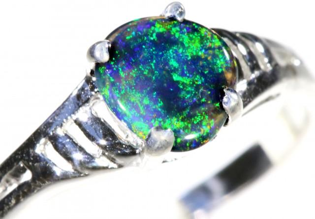 Solid Black Opal 18k White Gold Engagement Ring SB929