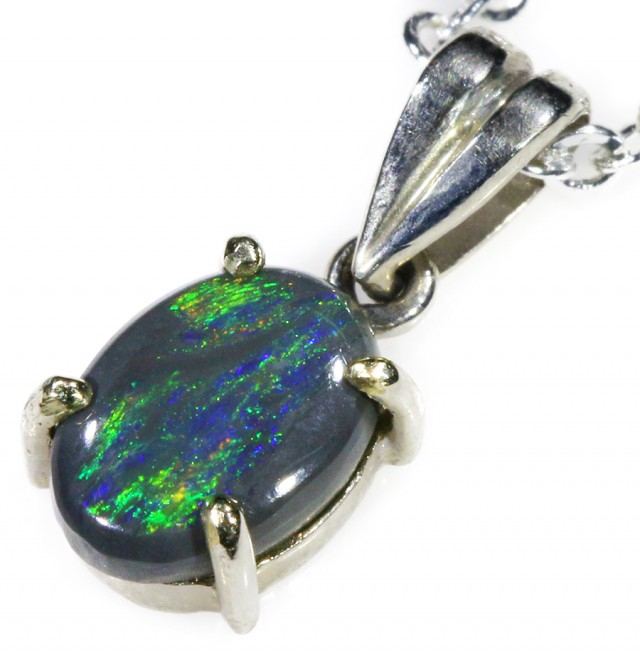 Black  Opal set in 18k white Gold Pendant  CF 1107
