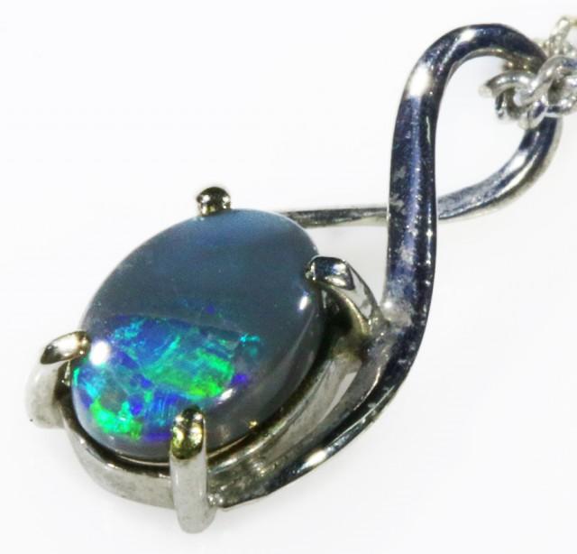 Black  Opal set in 18k white Gold Pendant  CF 1114