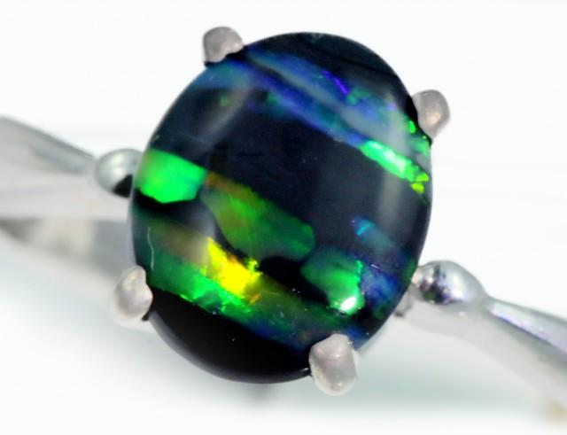 Solid Black Opal Engagement Ring SB950