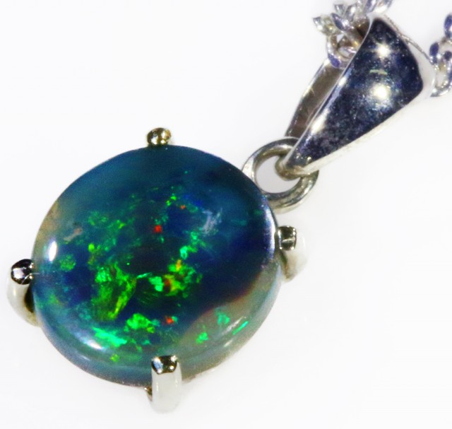 Black  Opal set in 18k white Gold Pendant  CF 1124