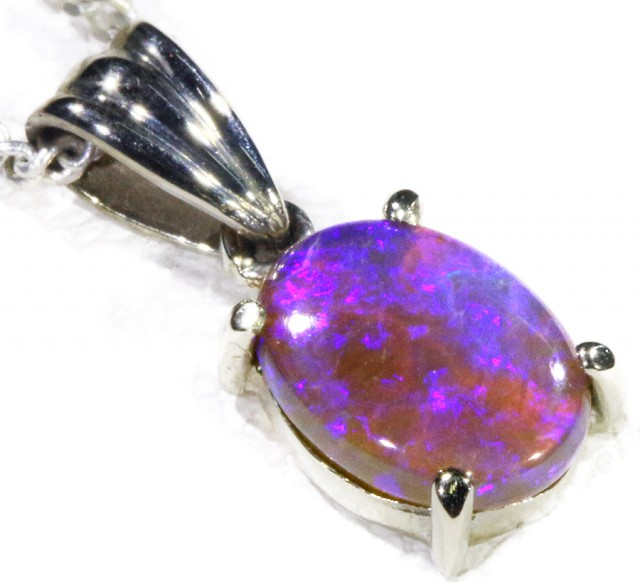 Black Crystal Opal set in 18k white Gold Pendant  CF 1136